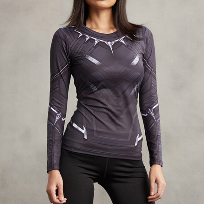 Women's Black Panther Compression Shirt Rash Guard
