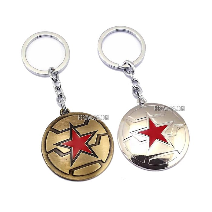 Winter Soldier Superhero Pendant Keychain