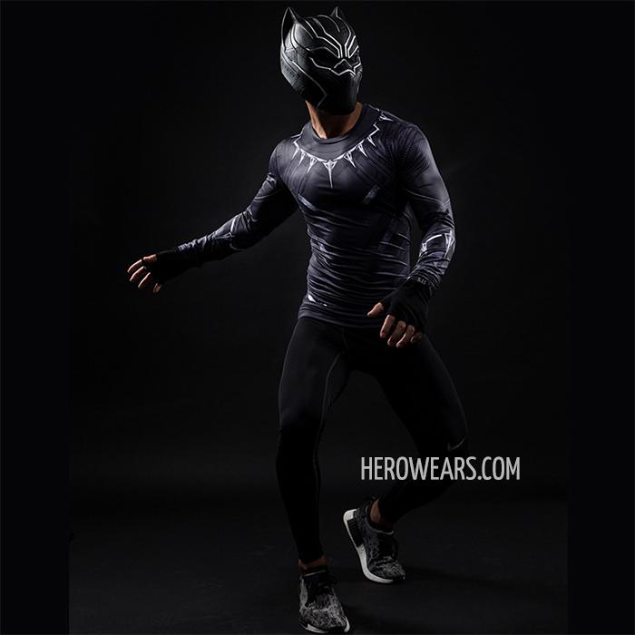 328318ecd23752 Black Panther Compression Shirt Long Sleeve Rashguard