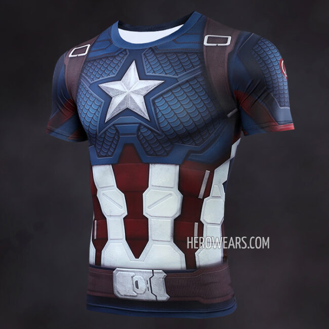 Captain America Scale Armor Compression Shirt Rashguard