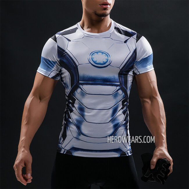 Iron Man White Compression Shirt Rashguard