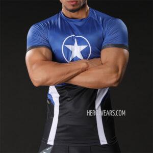 Captain America Star Compression Shirt Rashguard