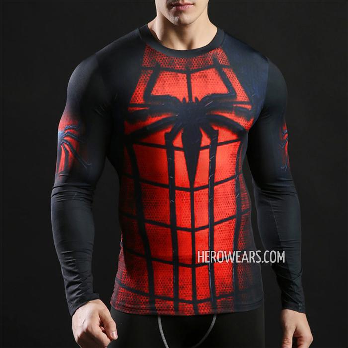 0571bedb Spider Man Compression Shirt Long Sleeve Rashguard