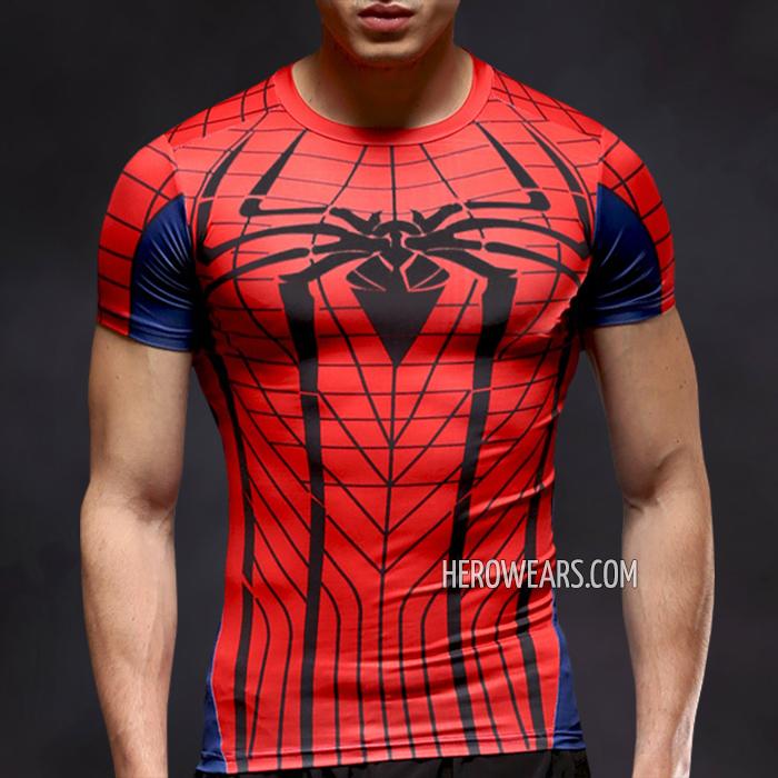 887a555ed67e09 Amazing Spider Man Compression Shirt Short Sleeve Rashguard