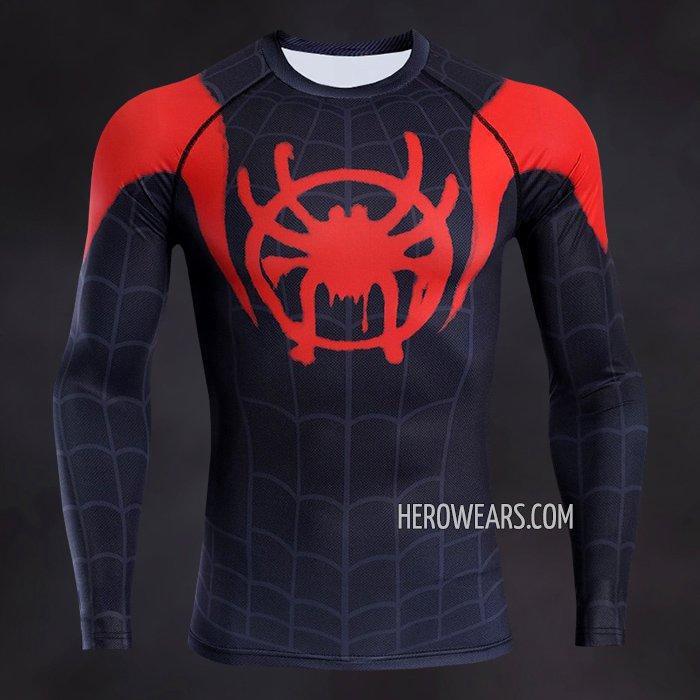 86a18448 Miles Morales Compression Shirt Long Sleeve Rashguard