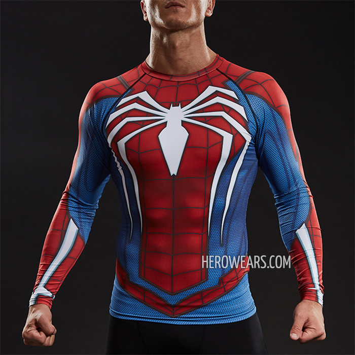 55973859 Spider Man PS4 Compression Shirt Long Sleeve Rashguard