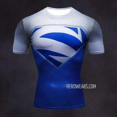 Superman Electric Blue Compression Shirt Rash Guard