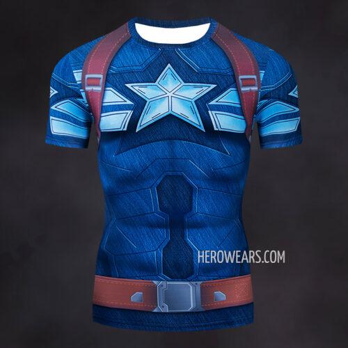 Captain America Compression Shirt Rash Guard