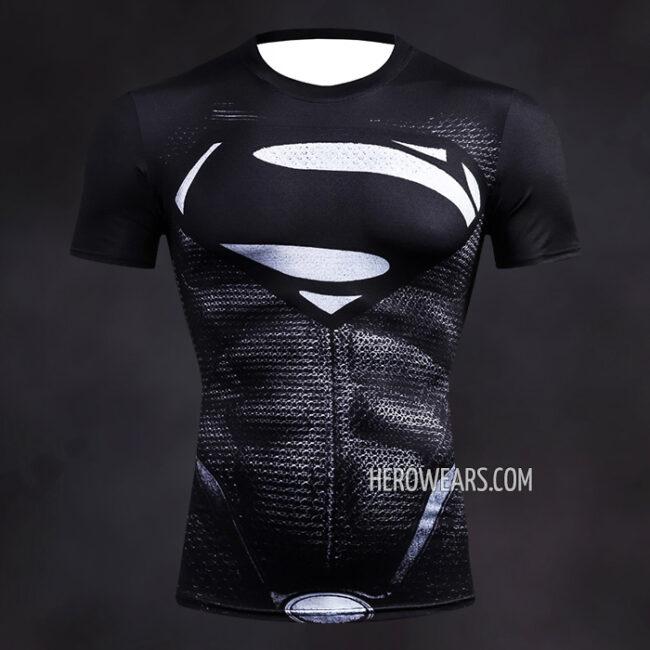 Superman Black Compression Shirt Rashguard