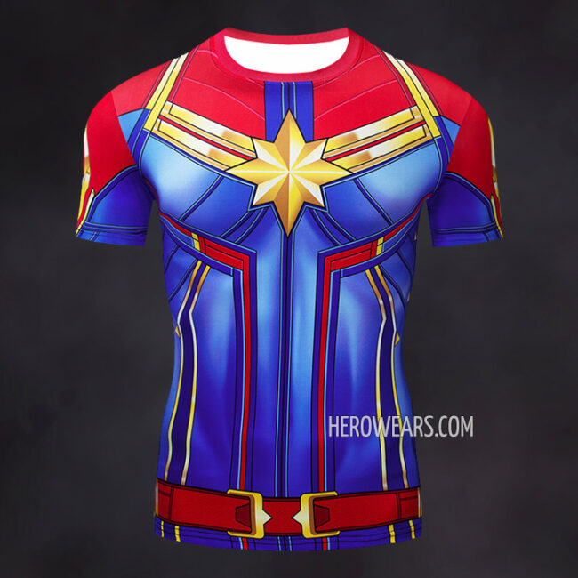 Captain Marvel Compression Shirt Rash Guard