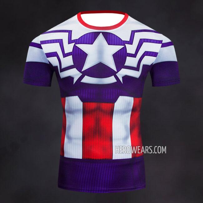 Captain America Sam Wilson Compression Shirt Rashguard