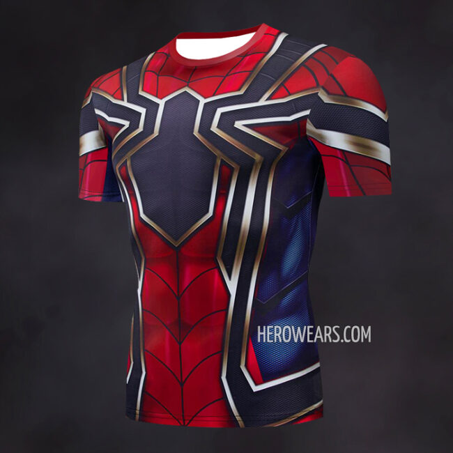 Iron Spider Compression Shirt Rashguard Short Sleeve