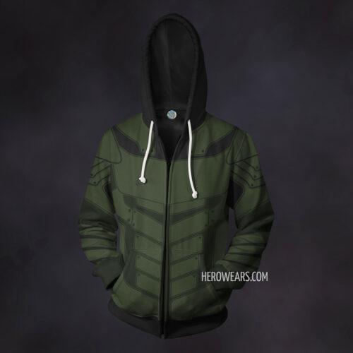 Green Arrow Zip Up Hoodie