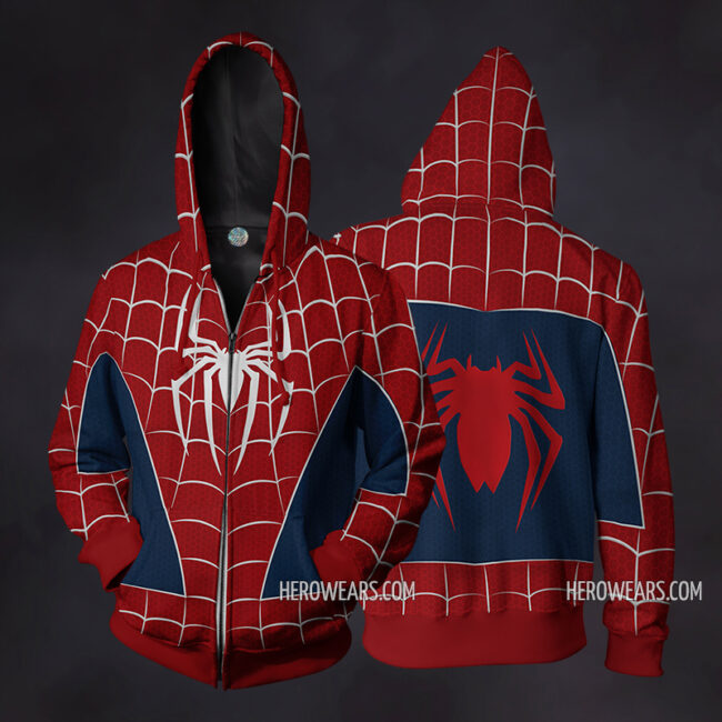 Spider Man Webbed Zip Up Hoodie