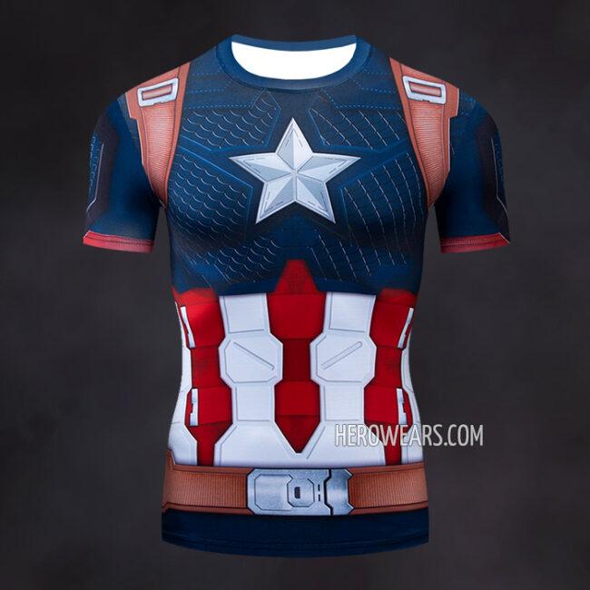Captain America Scale Compression Shirt Rash Guard